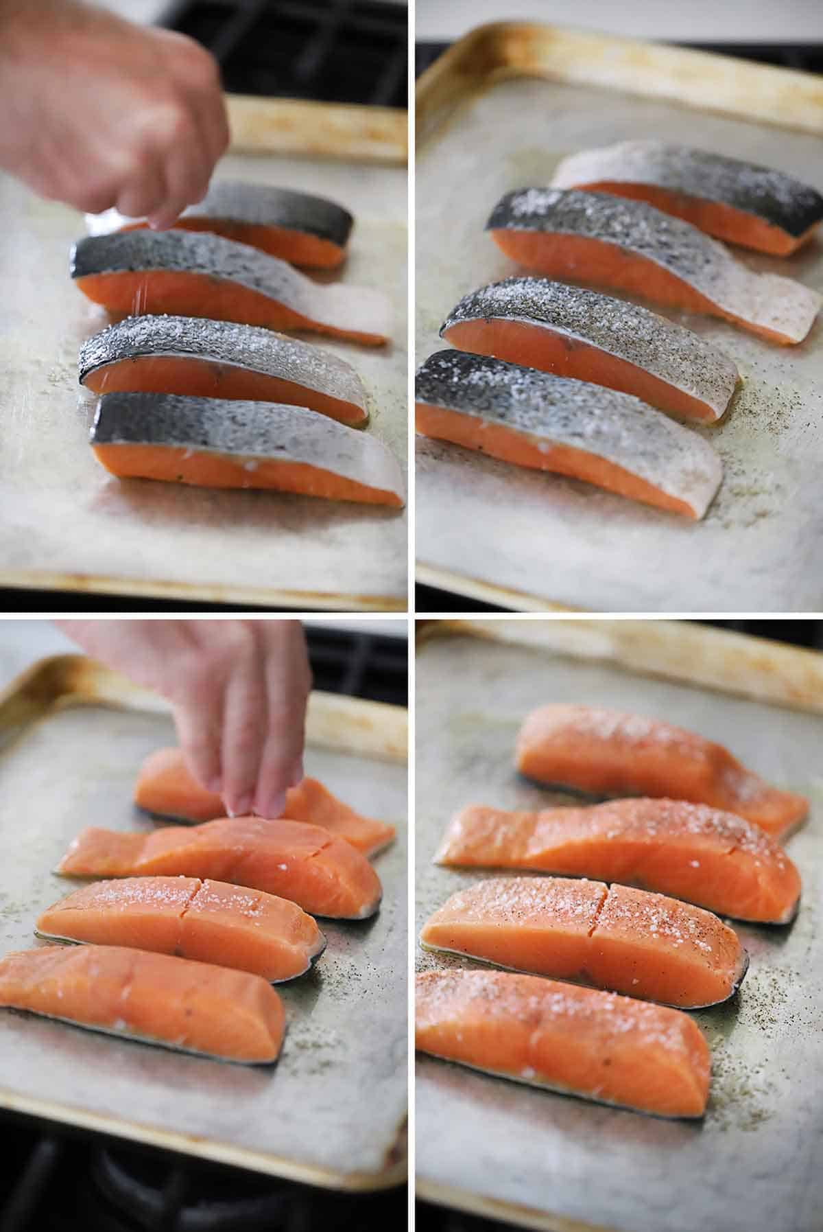 Process collage showing seasoning salmon with salt and pepper on both sides.