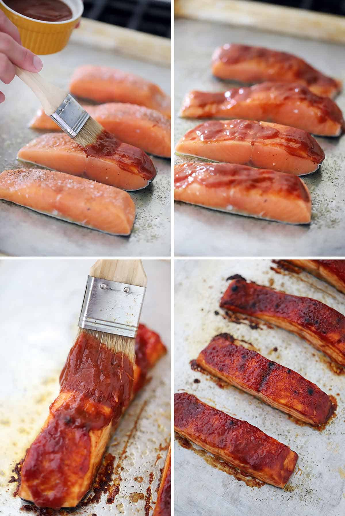 Process collage showing basting salmon filets with BBQ sauce and baking in the oven.