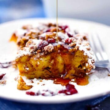 Square photo of pumpkin french toast casserole.