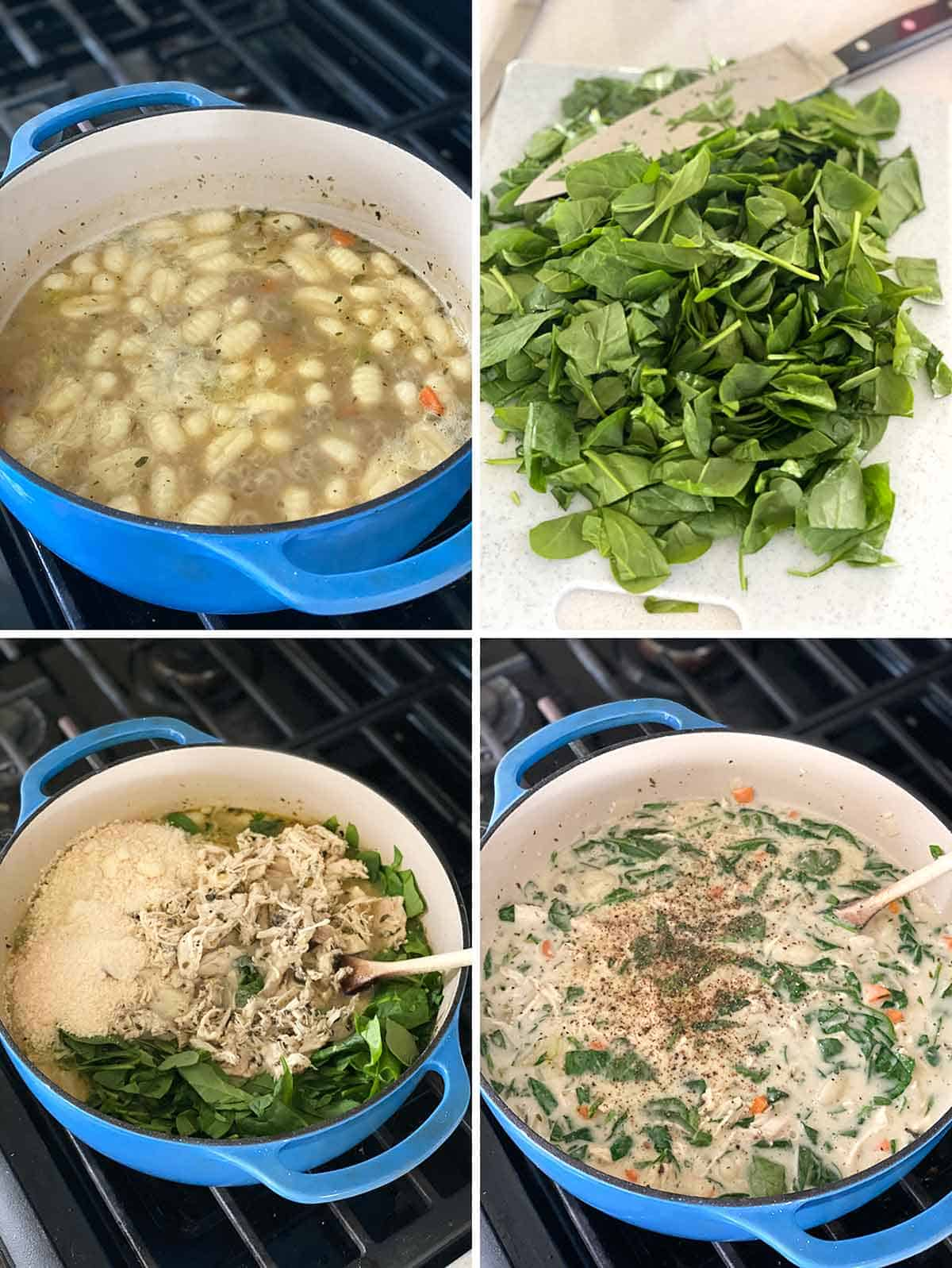 Process collage showing gnocchi floating at top of soup, chopped spinach, and mixing all ingredients for chicken gnocchi soup.
