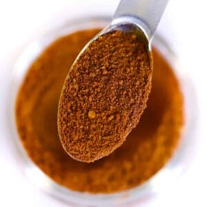 Square photo of a spoonful of pumpkin pie spice mix.