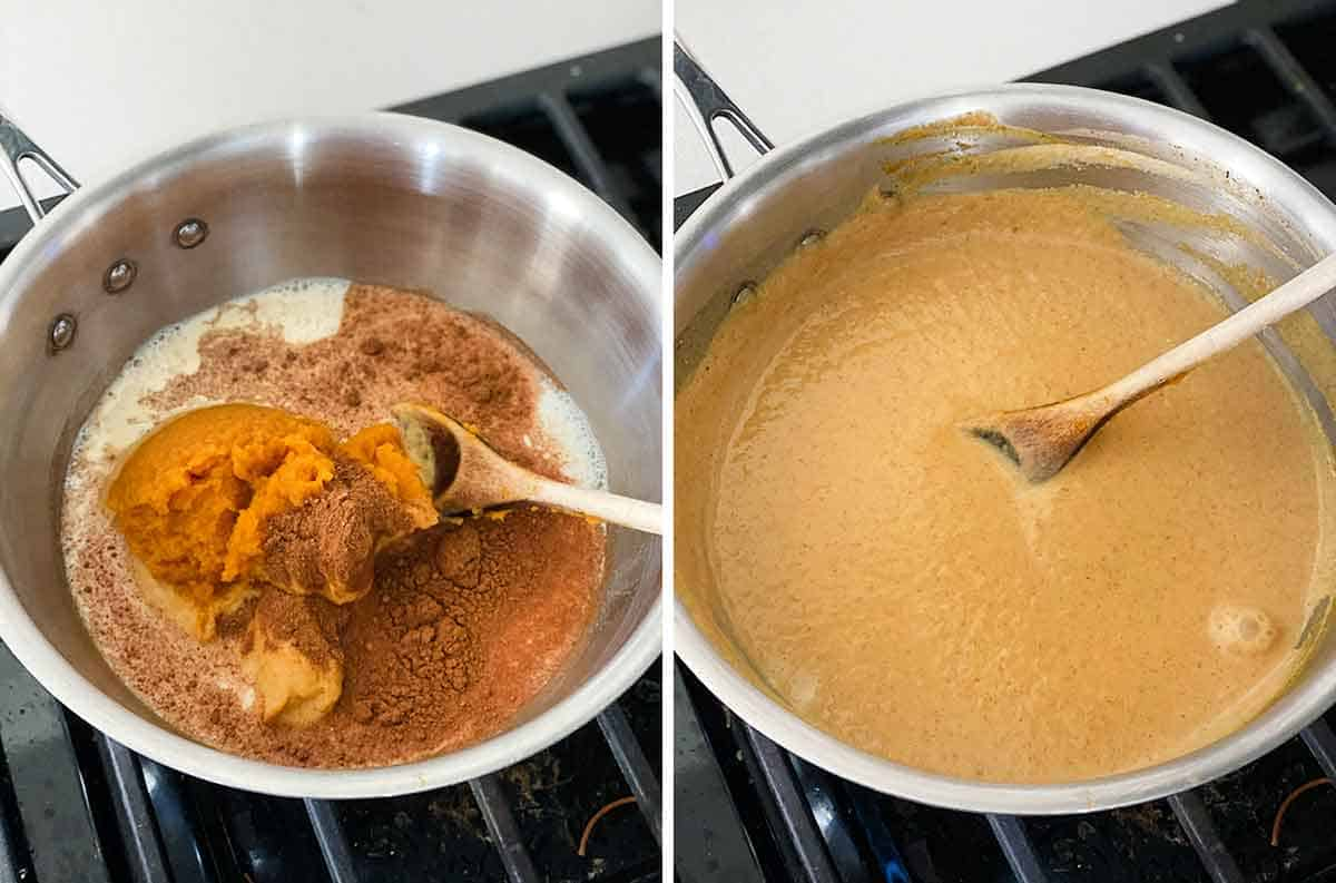 Process collage showing mixing pumpkin puree, milk, and pumpkin pie spice in a pot.