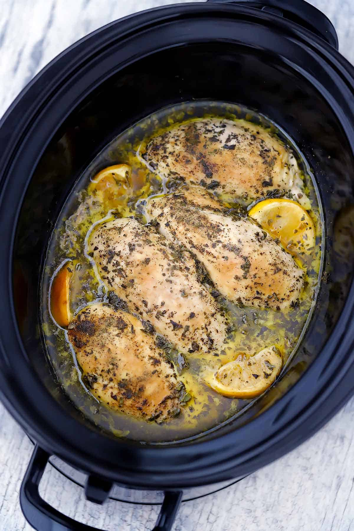 Cooked chicken breasts with oregano and lemon in a slow cooker.