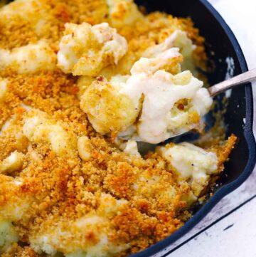 Square photo of cauliflower gratin.