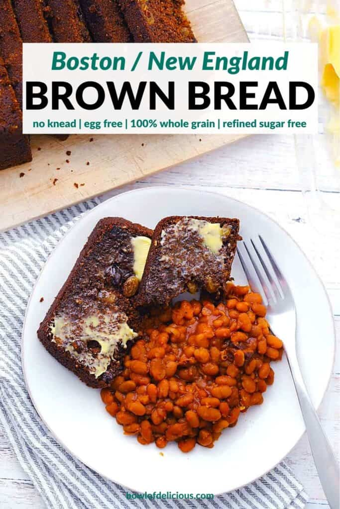 Pinterest image for Boston Brown Bread.