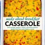 Pinterest image for breakfast casserole.