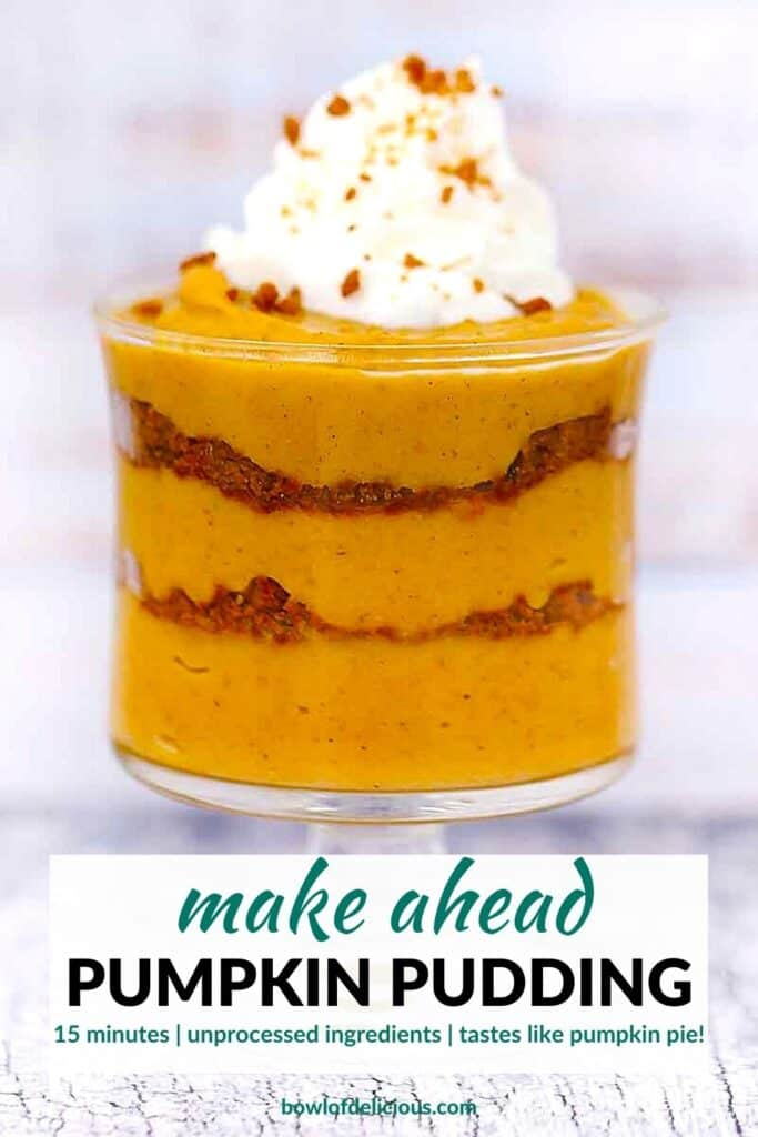 Pinterest image for pumpkin pudding.