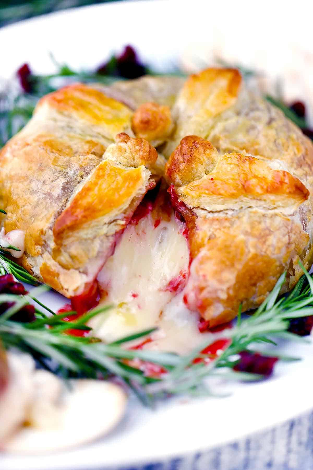 Baked Brie En Croûte With Cranberry Sauce Bowl Of Delicious