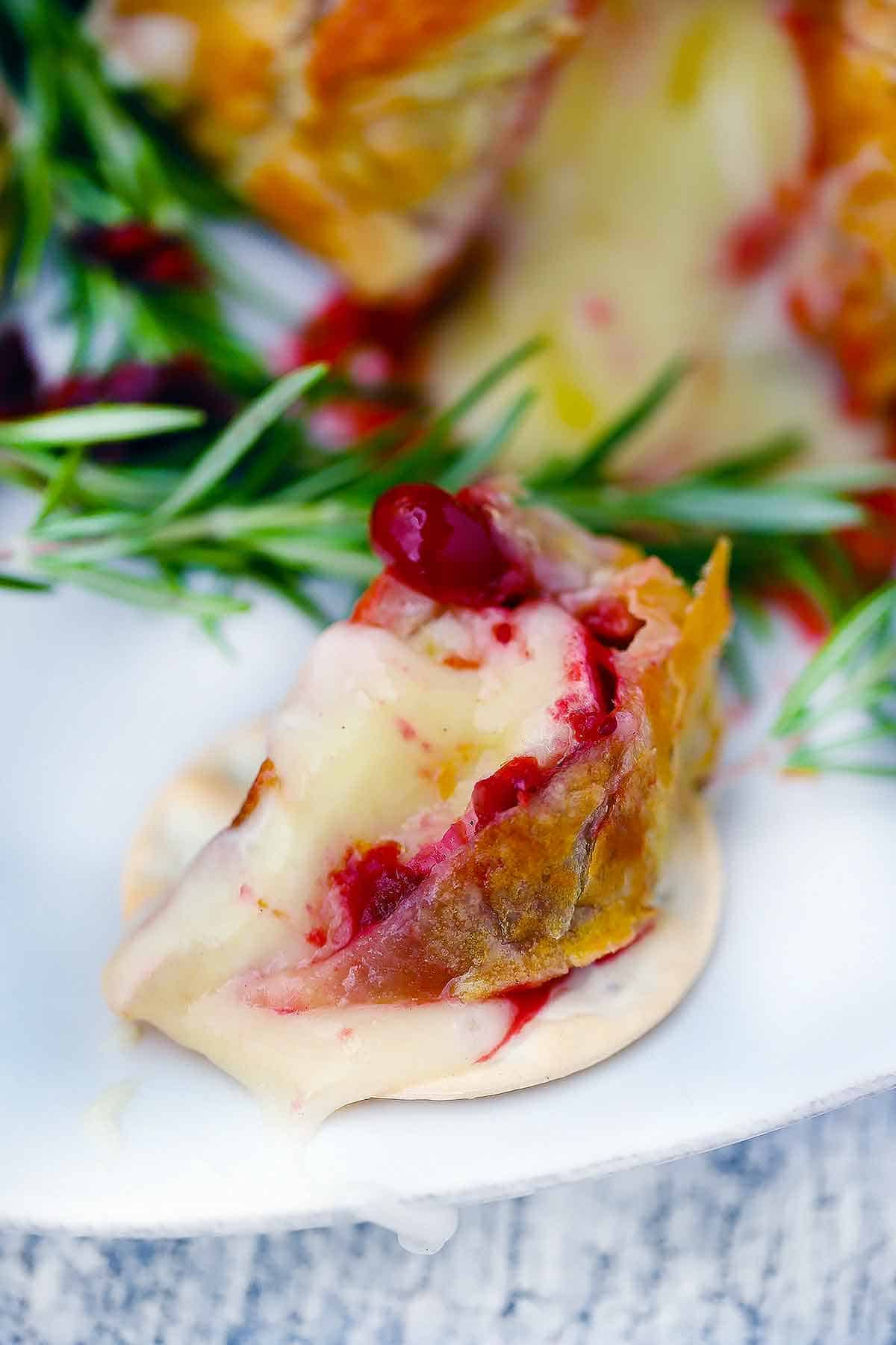 A slice of cranberry brie en croute on a water cracker.
