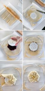 Process collage showing how to assemble a brie en croute with puff pastry.