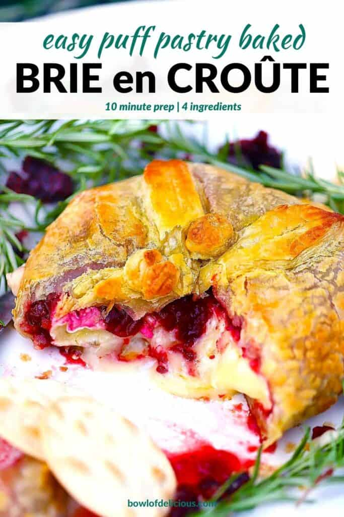 Pinterest image for baked brie en croute.