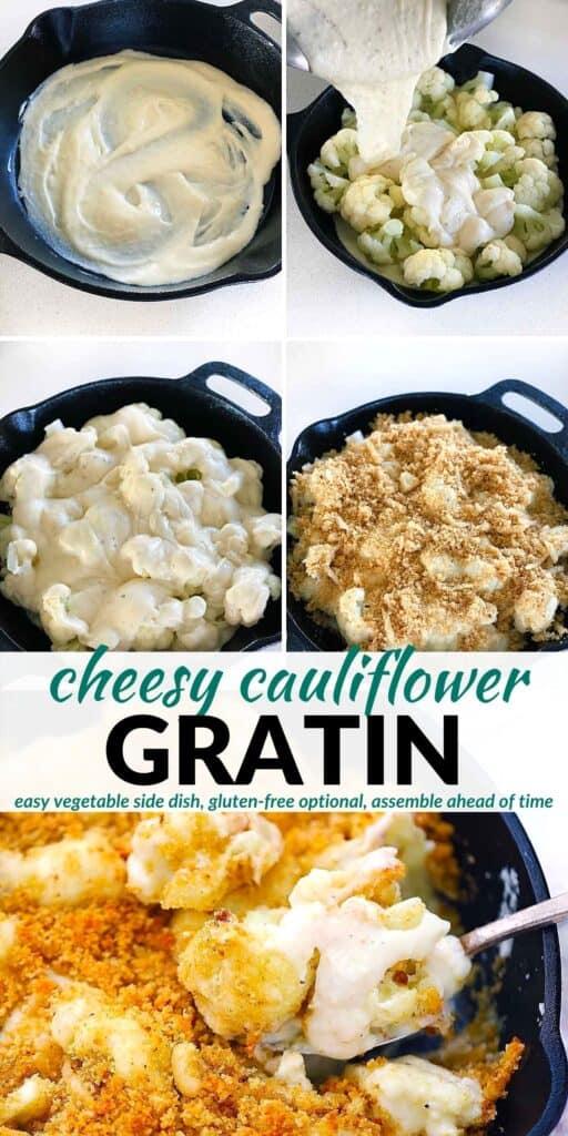Pinterest image for Cauliflower Gratin.
