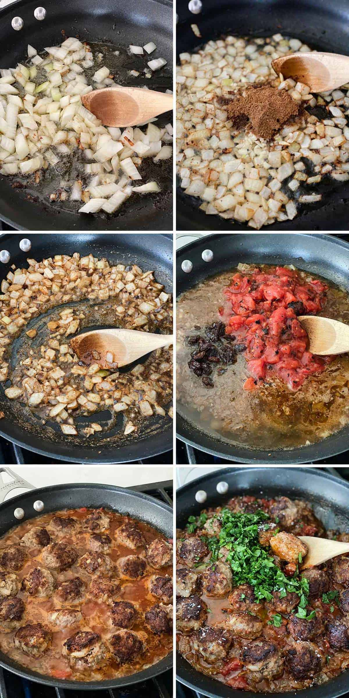 Process collage showing how to make Moroccan lamb meatballs in a tomato onion raisin sauce.
