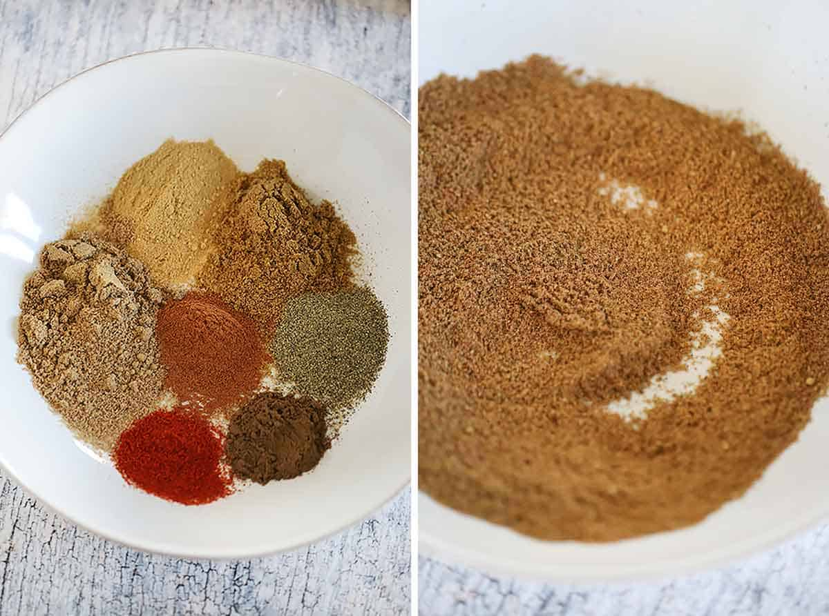 Process collage showing the spices mixed together for homemade Ras el Hanout.