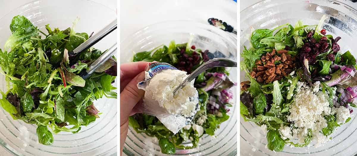 Process collage showing how to mix a salad and crumble goat cheese with a fork.