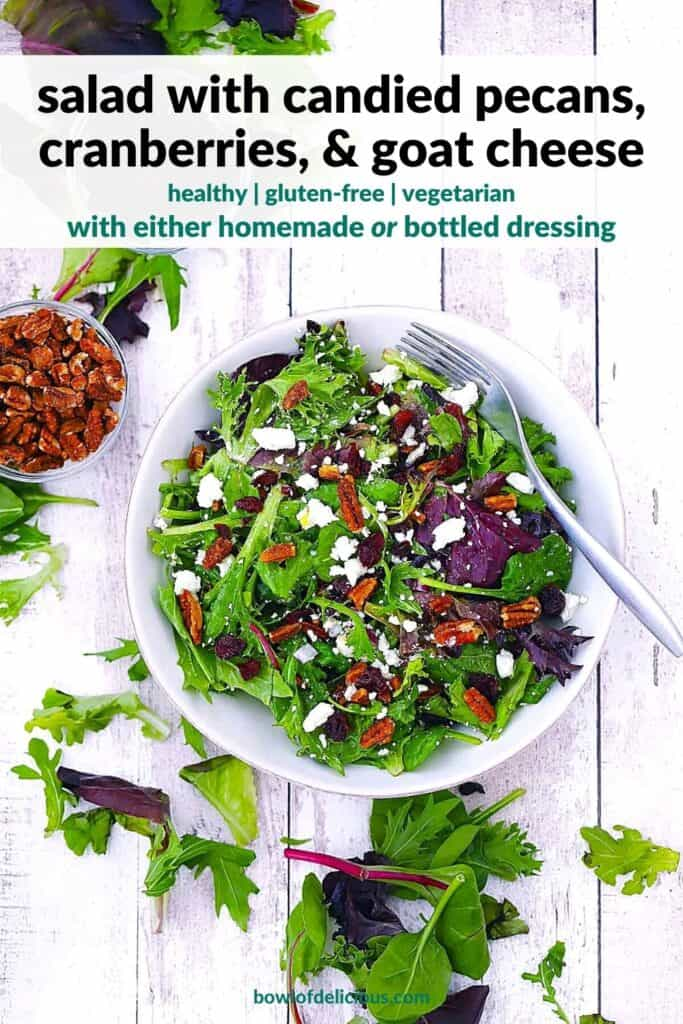Pinterest image of goat cheese, cranberry, and pecan salad.