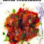 Pinterest image for Moroccan Lamb Meatballs.