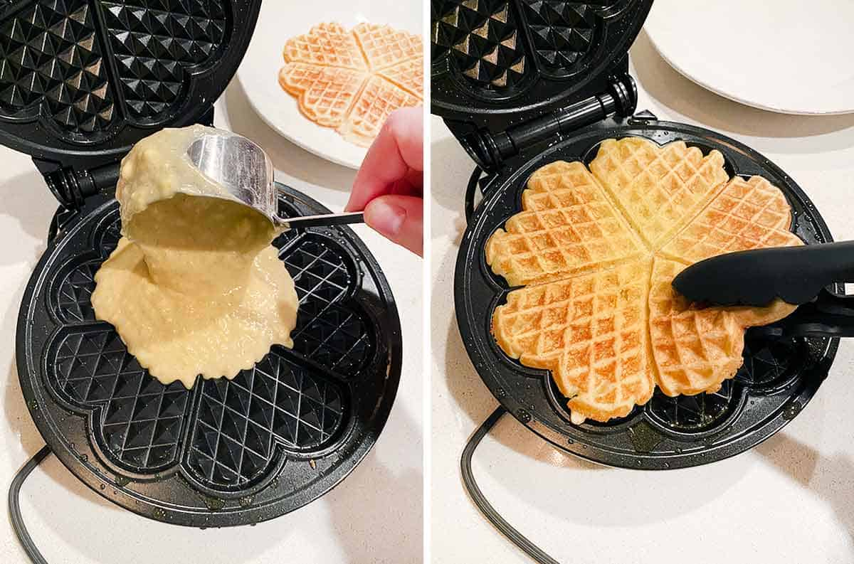 Process collage showing how to make Norwegian waffles on a heart-shaped waffle maker.