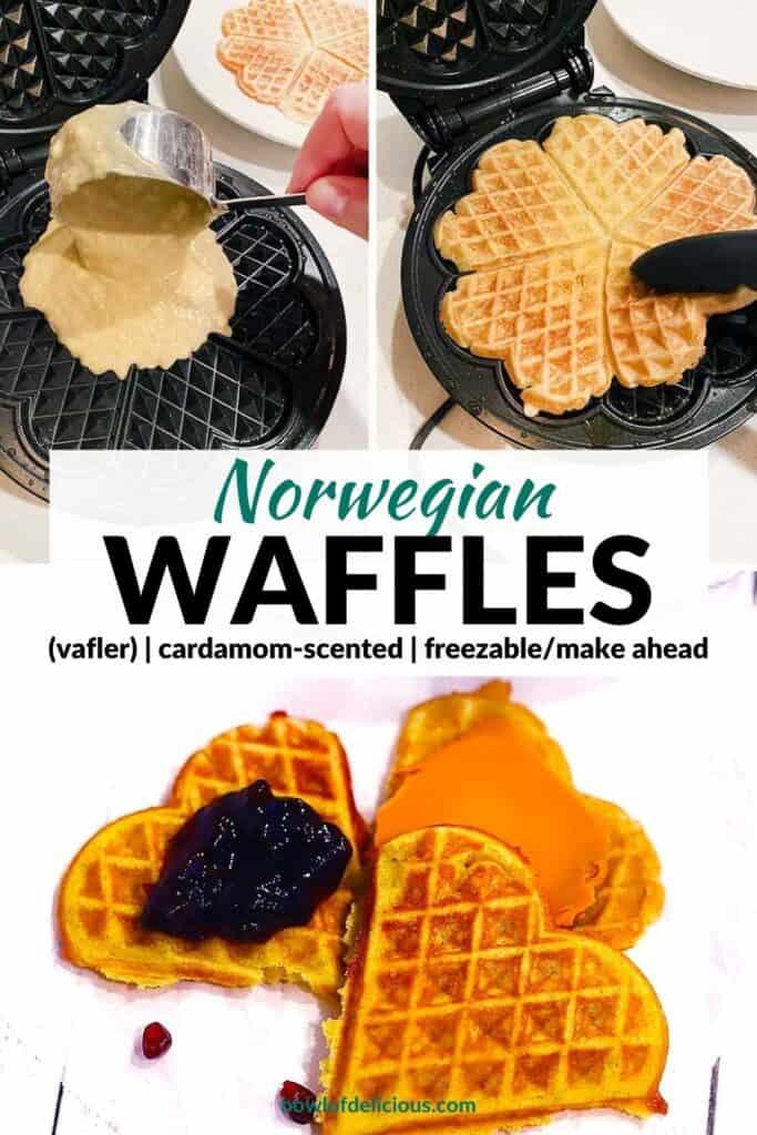 Pinterest image for Norwegian Waffles.