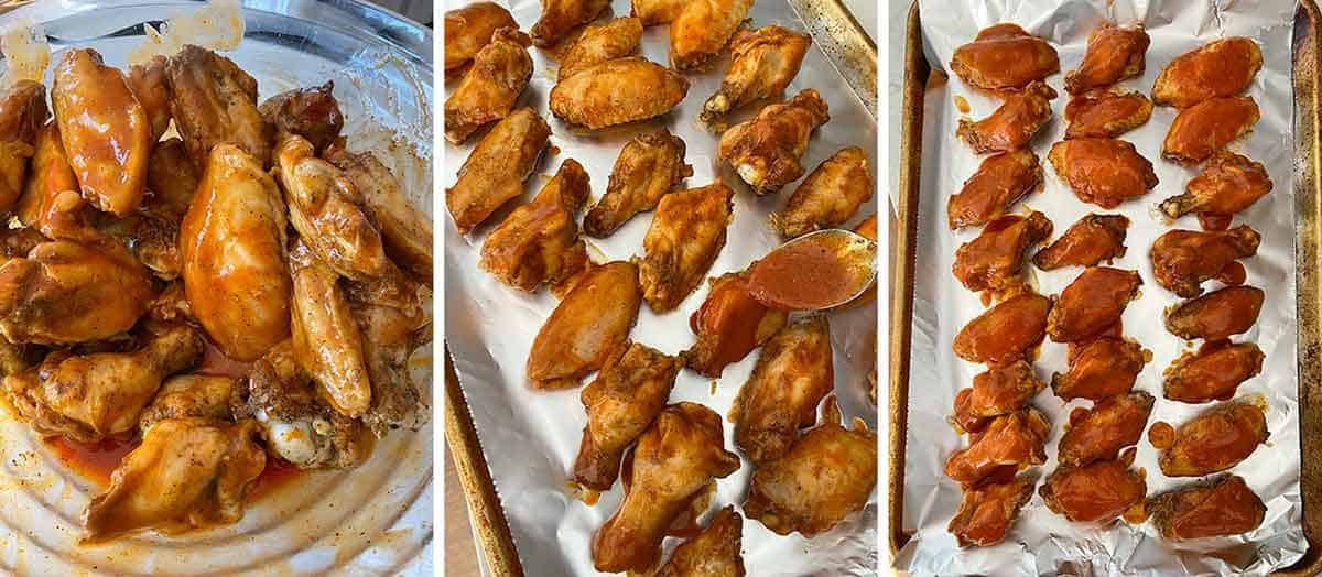 Process collage showing mixing cooked wings with buffalo sauce and placing on a baking sheet to broil.