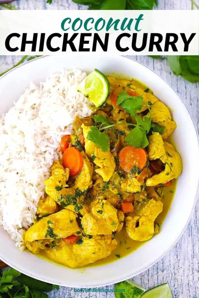 Pinterest image for coconut chicken curry.