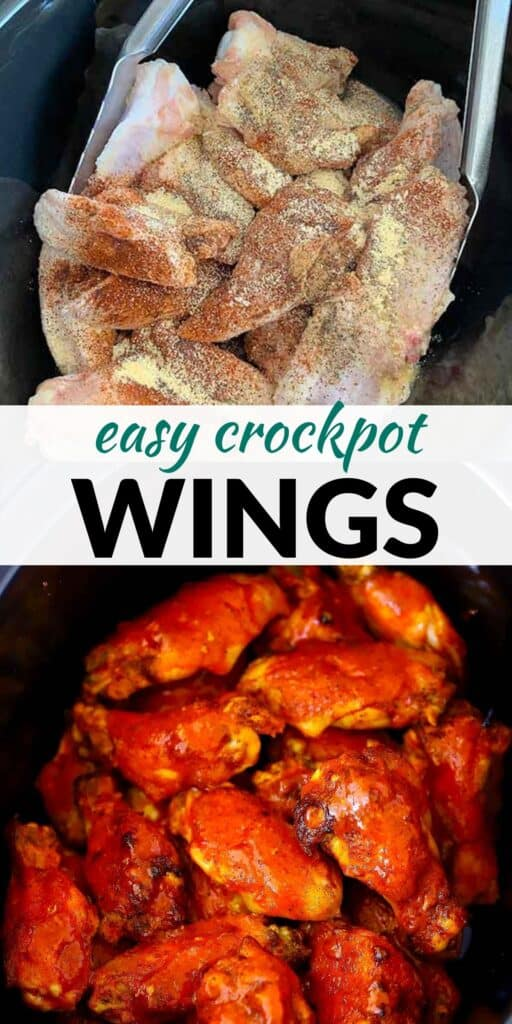 Pinterest image for slow cooker buffalo wings.