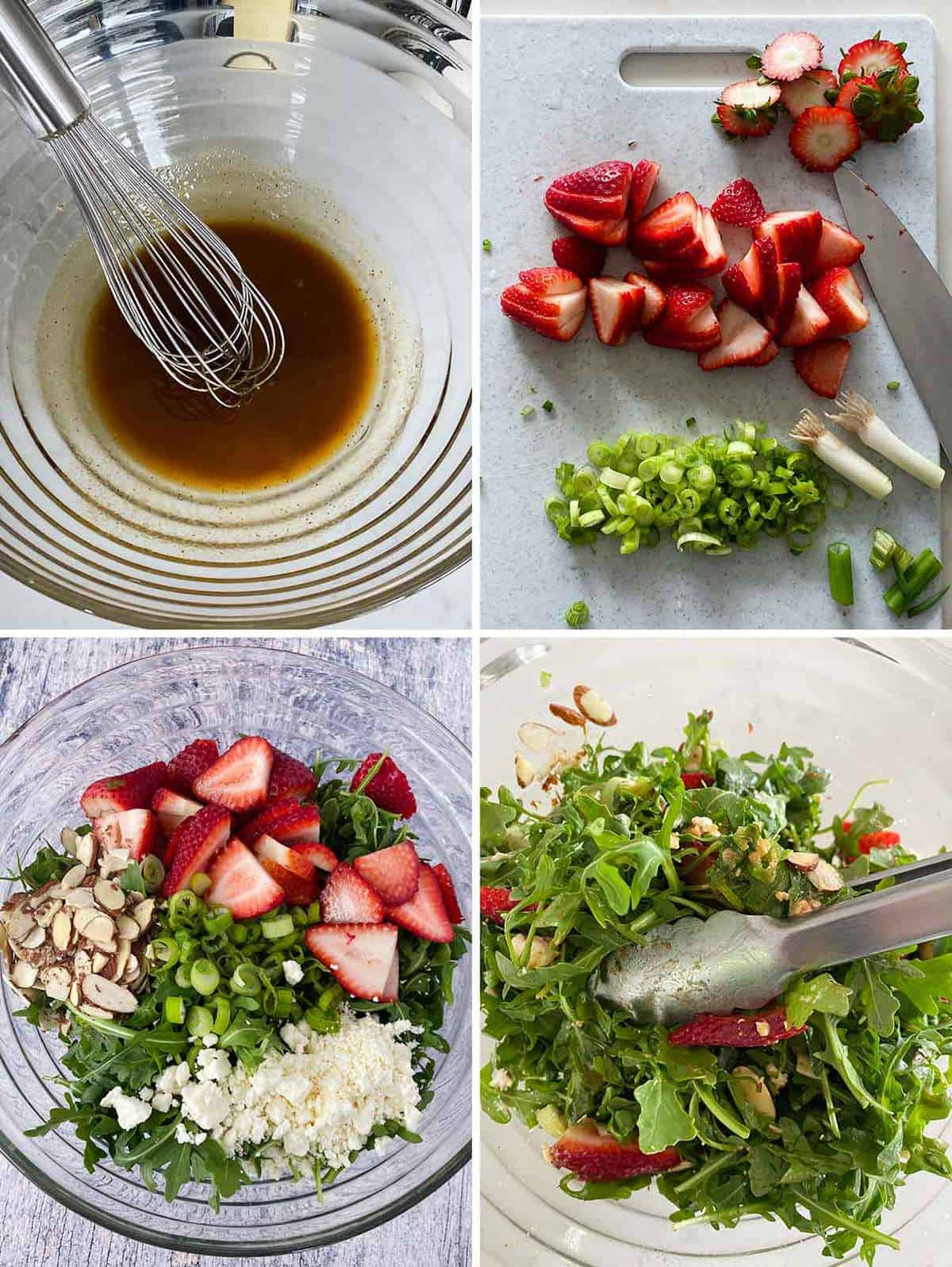 Process collage showing how to mix balsamic vinaigrette and a strawberry arugula salad with feta and almonds in a large bowl.