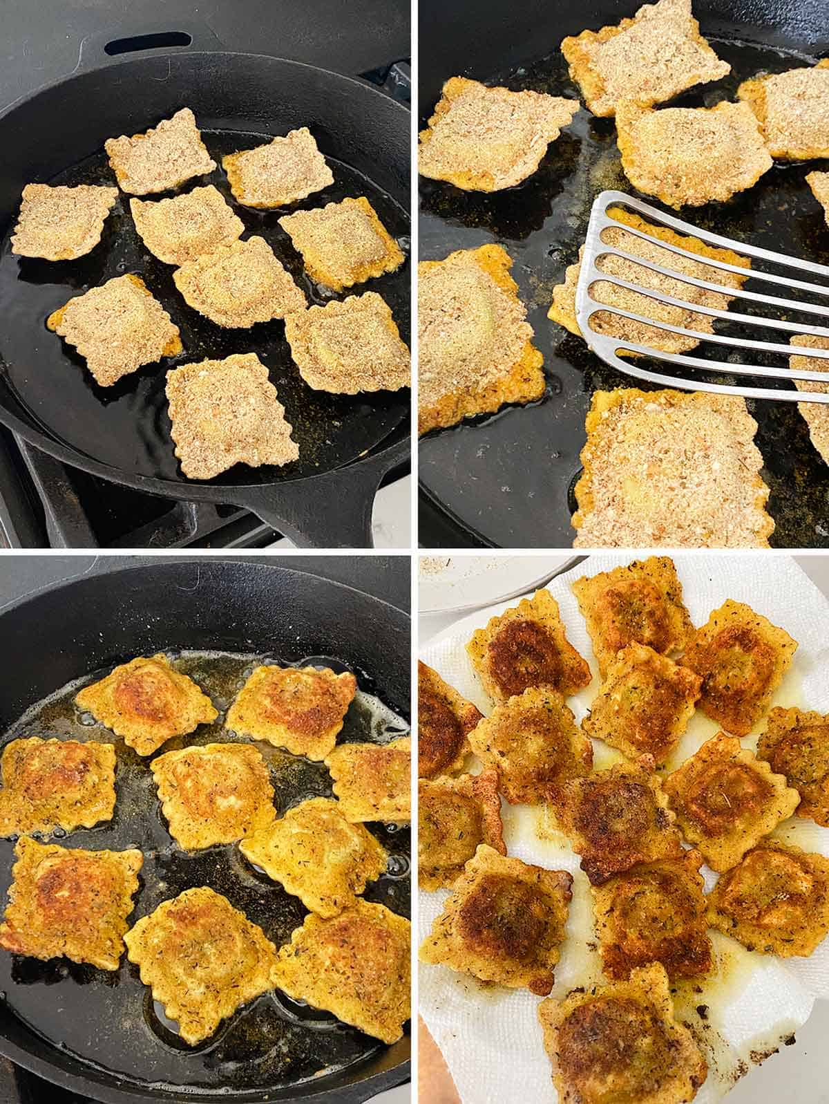 Process collage showing how to pan fry toasted ravioli in a cast iron skillet.