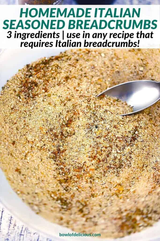 Pinterest image for homemade Italian Bread Crumbs.