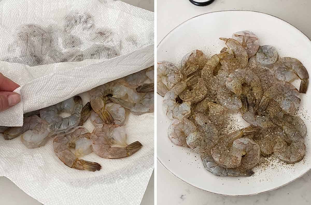 Patting shrimp dry with a paper towel and seasoning it with salt and pepper.