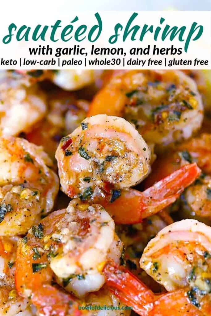 Pinterest image for sautéed shrimp.