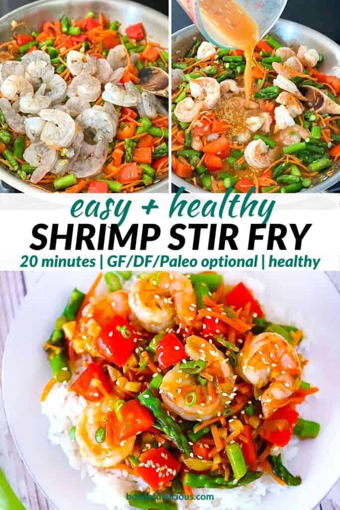 Pinterest image for shrimp stir fry.