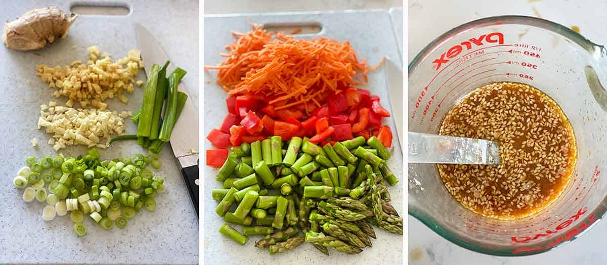 Photo collage showing chopped prepped ingredients and vegetables to make stir fry.