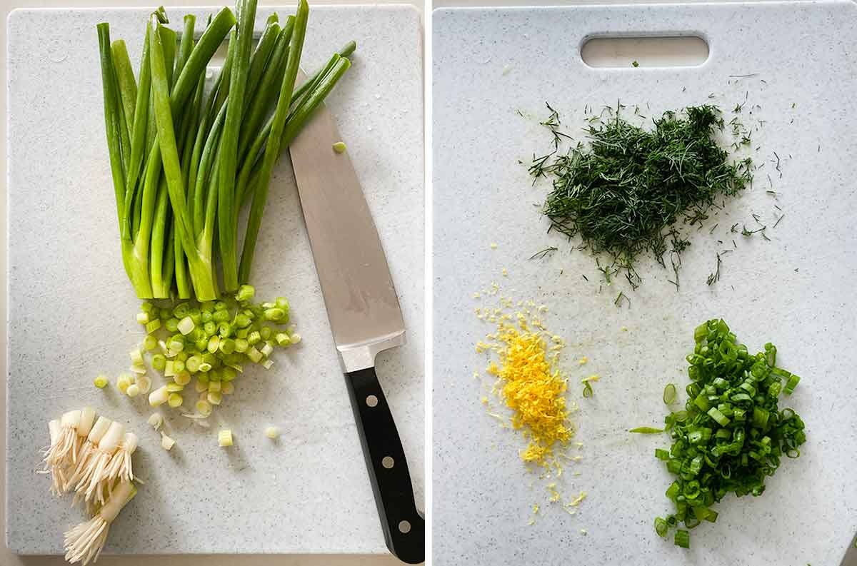Process collage showing green onions being sliced on the left and lemon zest, chopped fresh dill, and dark green scallion parts on the right.