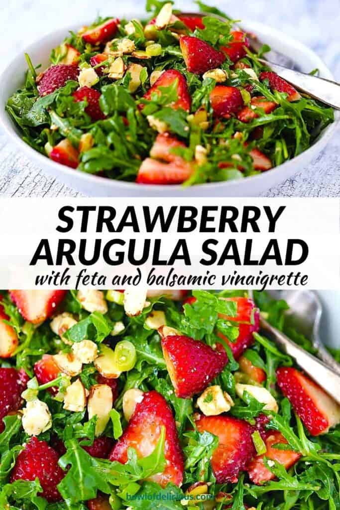 Pinterest image for strawberry arugula salad.