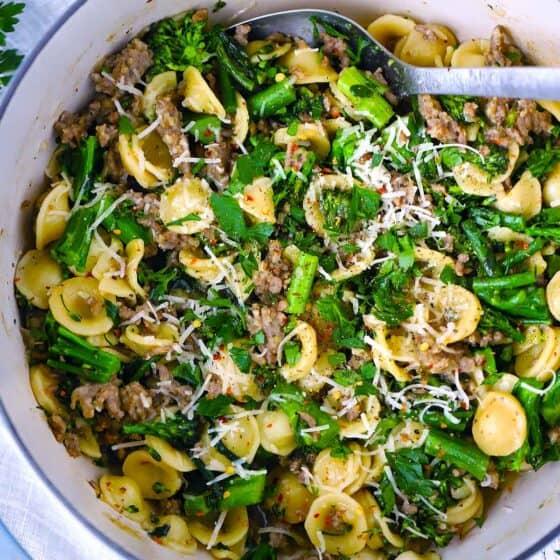 One Pot Orecchiette with Sausage and Broccolini