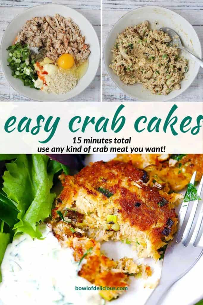 Pinterest image for crab cakes.