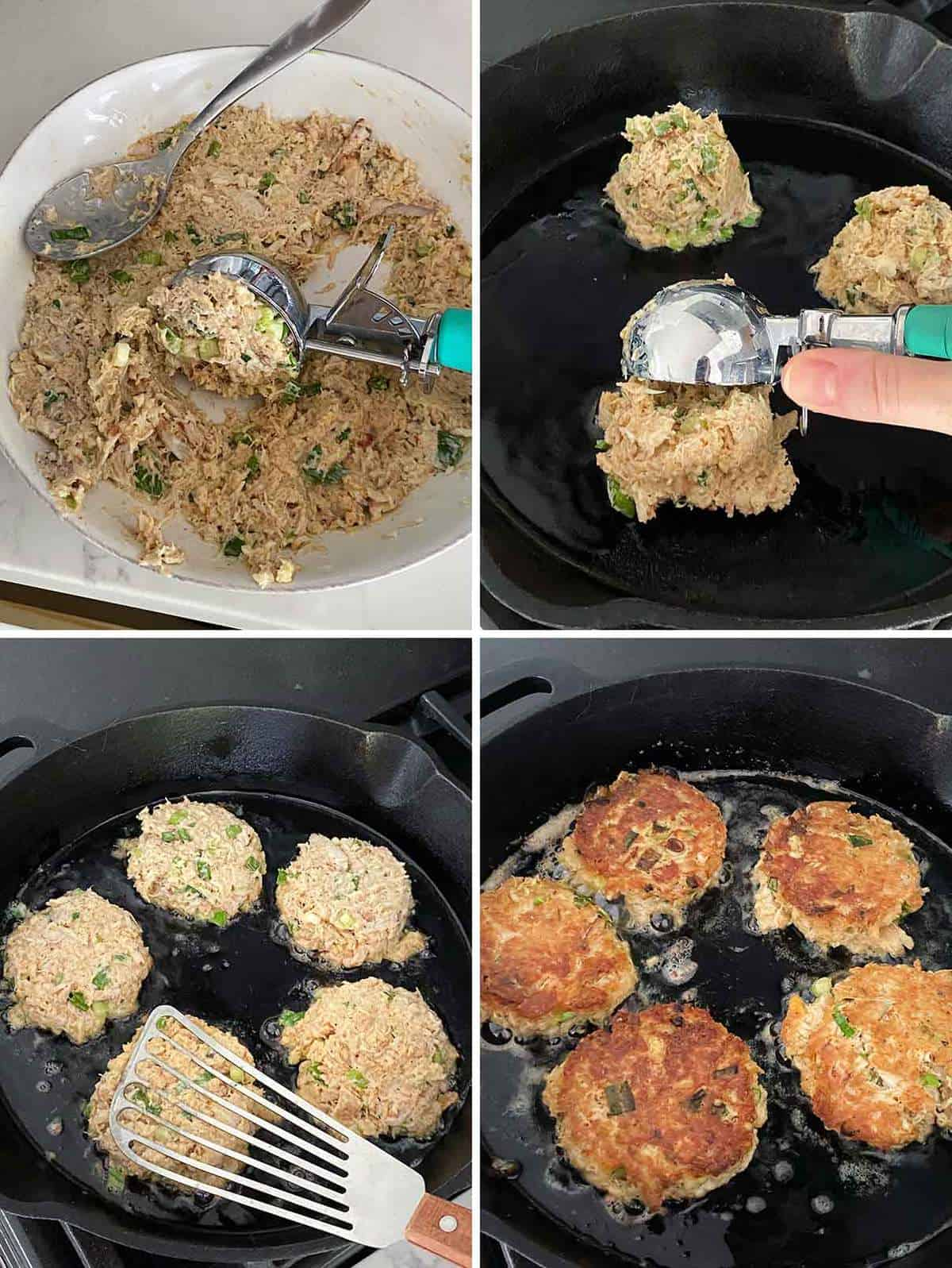 Process collage showing how to scoop crab cake mix into a hot skillet and flatten with a spatula.