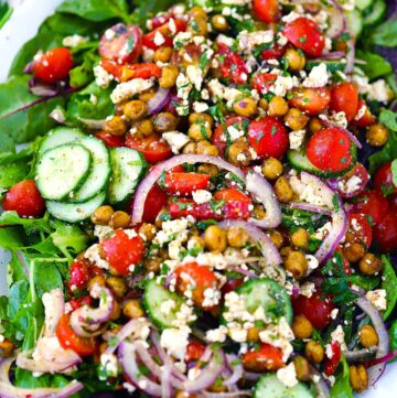 Square photo of za'atar roasted chickpea salad close up.