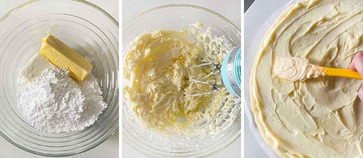 Process collage showing making cream cheese frosting and spreading it on a sugar cookie crust.