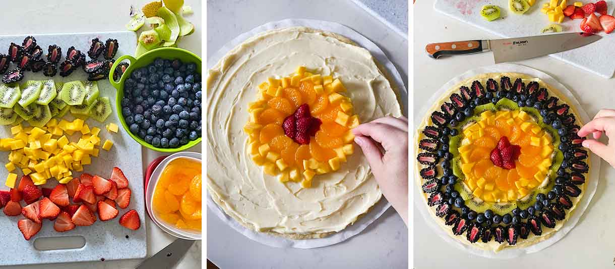 Process collage of decorating a fruit pizza with fruit.