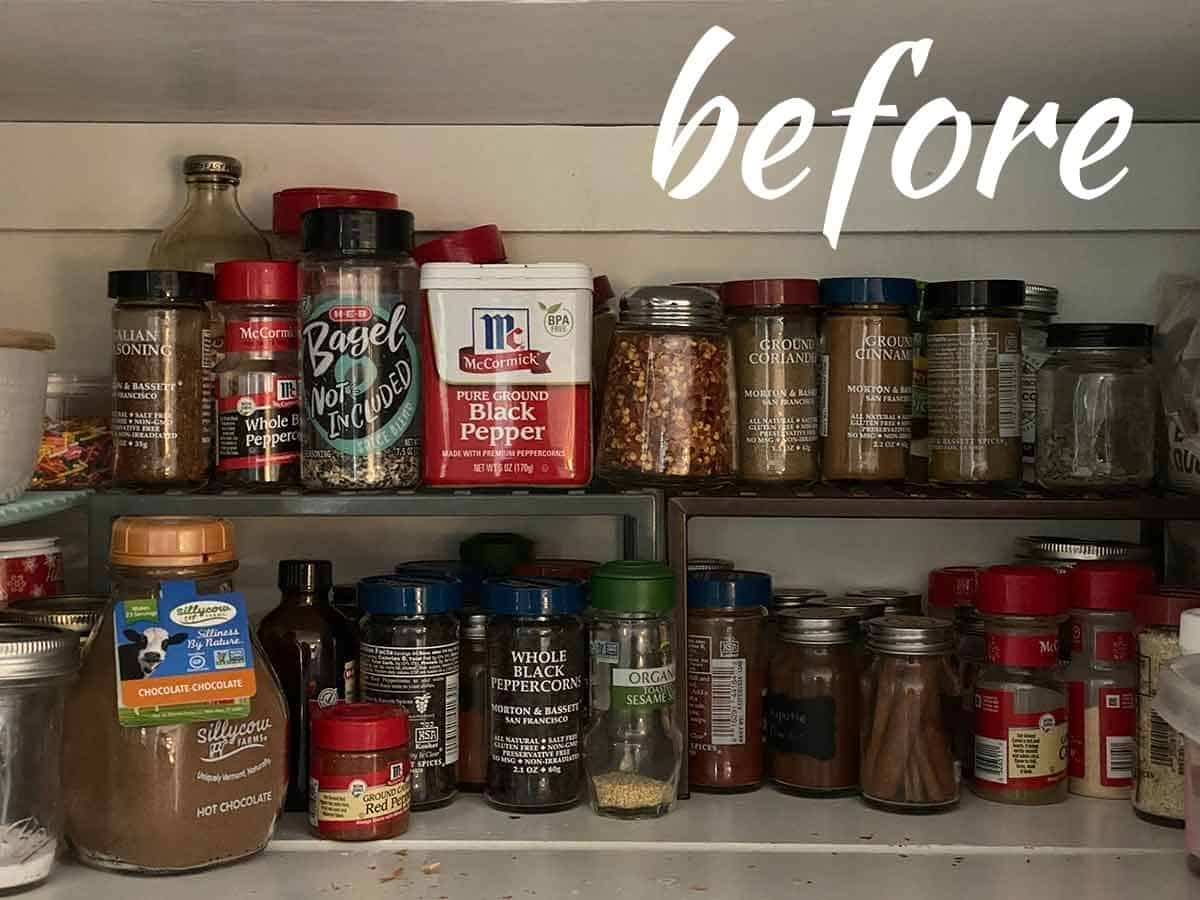 Spices in a pantry on a shelf.