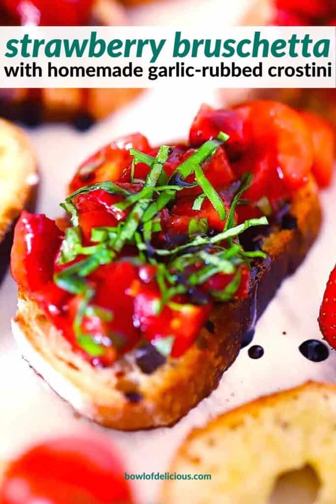 Pinterest image for Strawberry Bruschetta