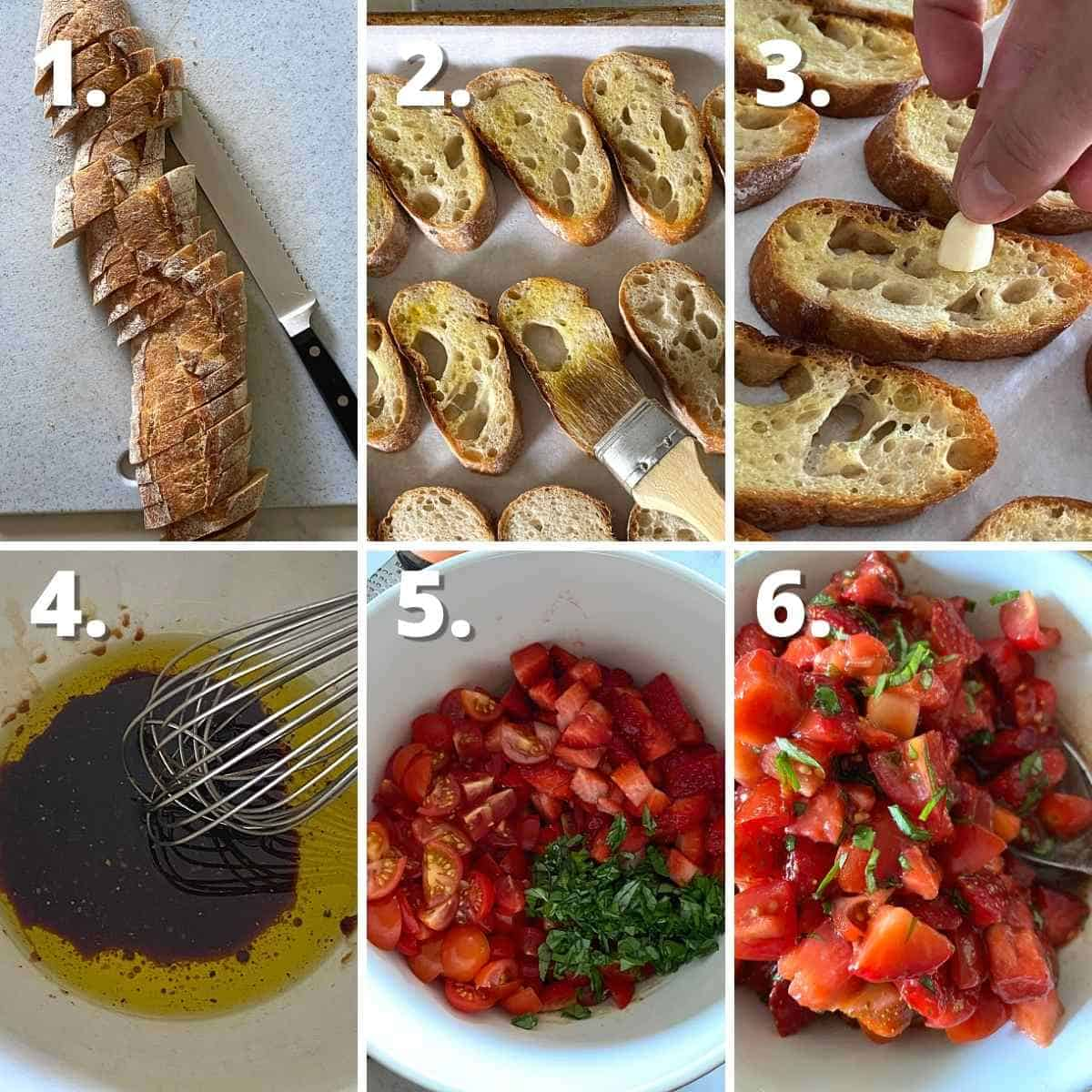 Process collage showing how to make garlic rubbed crostini and how to mix up strawberry tomato bruschetta.