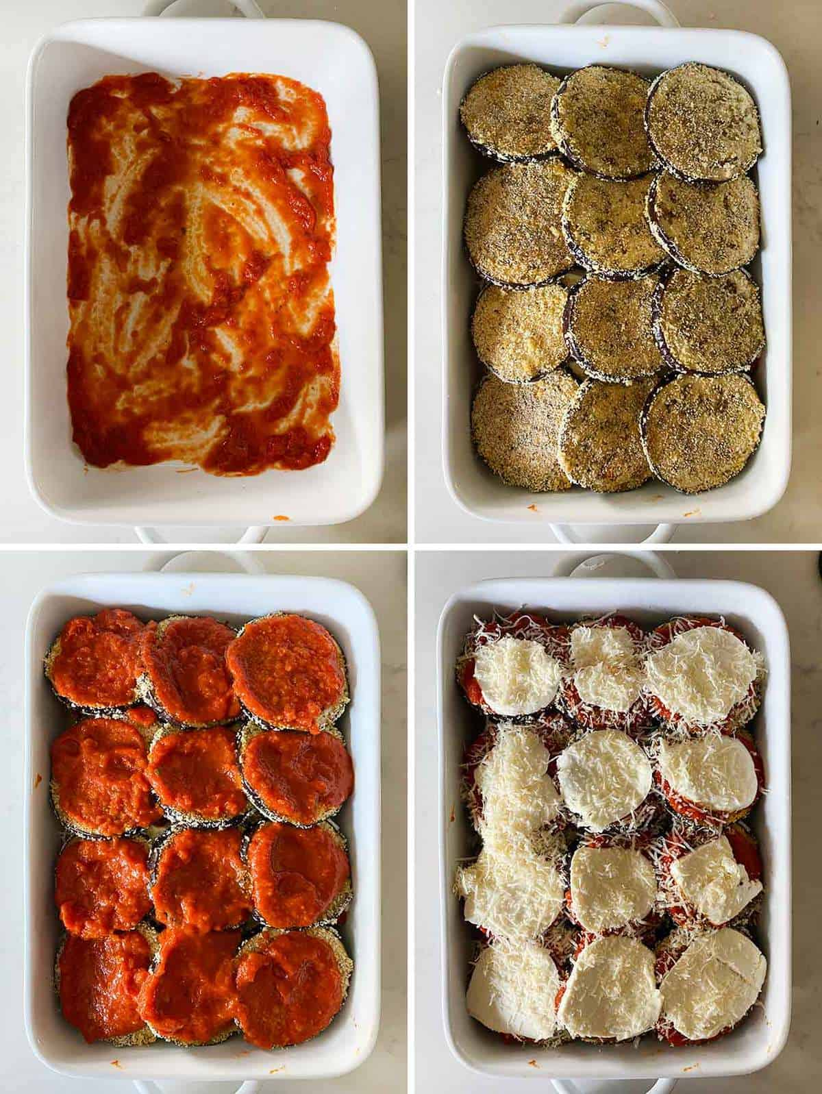 Process collage showing how to layer the parts of eggplant parmesan in a baking dish.