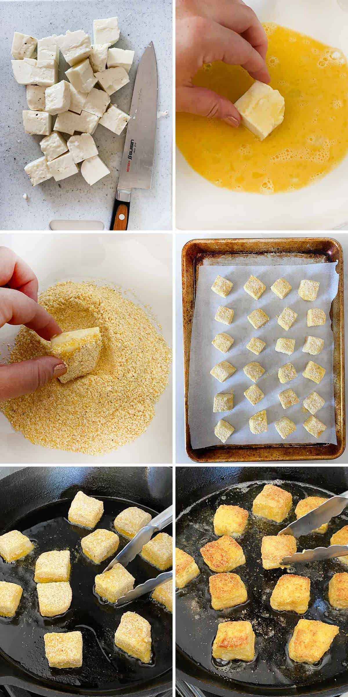 Process collage showing breading halloumi cheese cubes in egg and cornmeal and pan-frying in olive oil.
