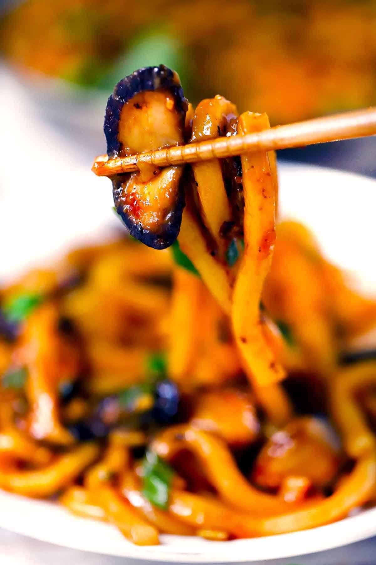 Chopsticks holding udon noodles and mushrooms.