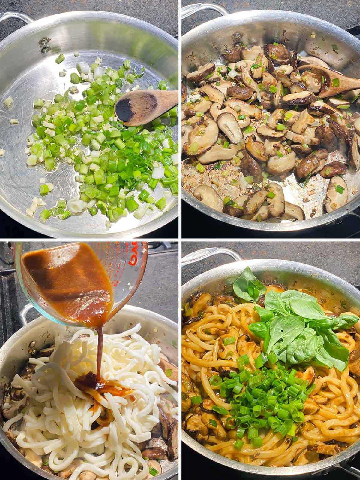Process collage showing sautéing ingredients for udon noodle stir fry in a skillet.