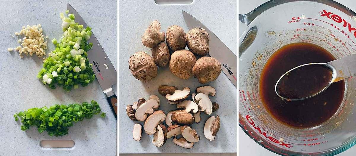 Sliced green onions, garlic, shiitake mushrooms, and stir fry sauce prepped.