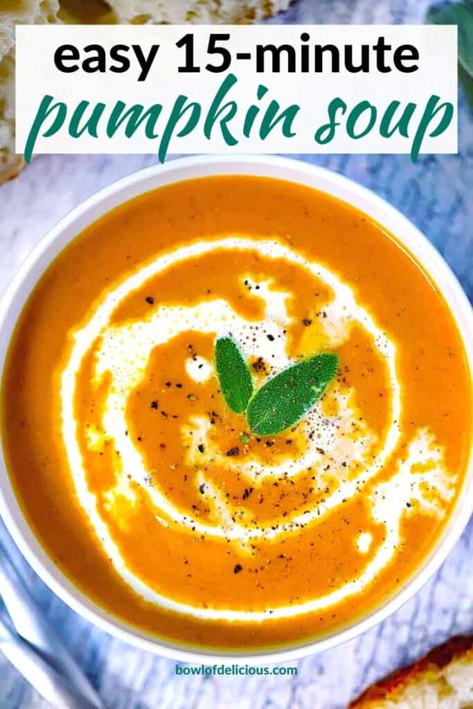 Pinterest collage image for pumpkin soup.
